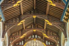 The restored hammerbeam chapel roof