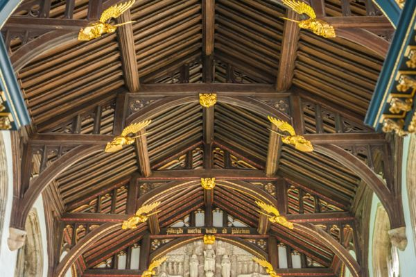 All Souls College photo, The restored hammerbeam chapel roof