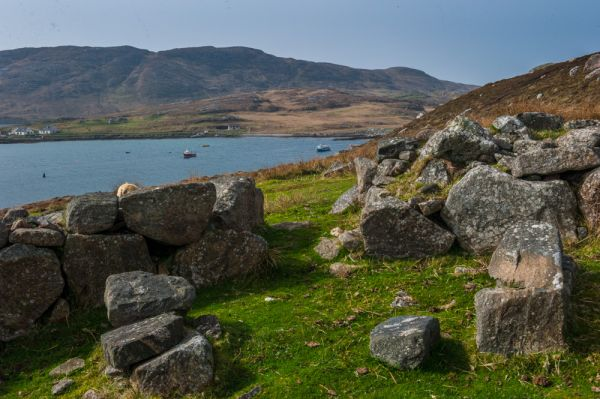 Allt Chrysal ancient settlement photo, Looking across to Vatersay