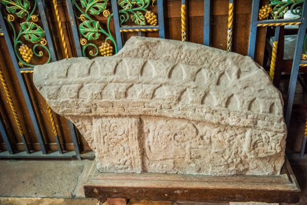 Aspatria, St Kentigern's Church photo, 11th century hogback Viking gravestone