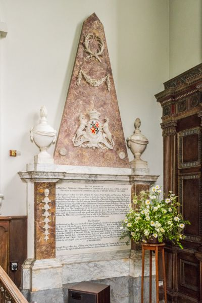 Avington, St Mary's Church photo, Marchioness of Carnarvon memorial, 1768