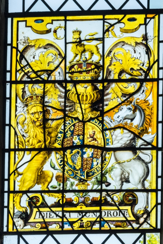Charles I royal coat of arms in stained glass