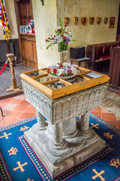 Barton Stacey, All Saints Church photo, The 12th century Purbeck marble font