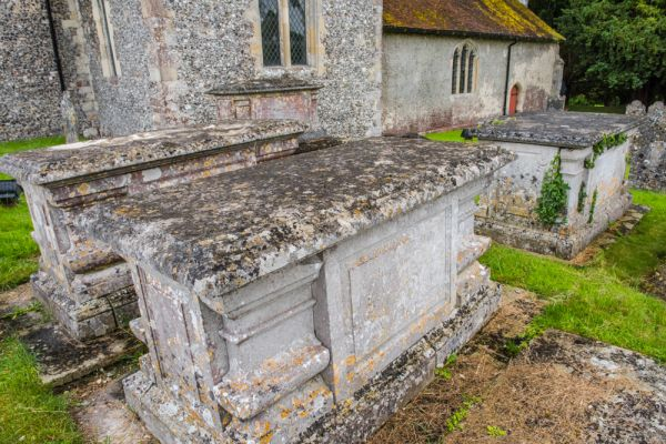 Barton Stacey, All Saints Church photo, 18th century table tombs in the churchyard