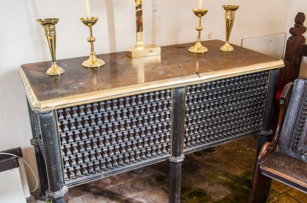 Beachamwell, St Mary's Church photo, The unusual wrought iron altar table and parish chest
