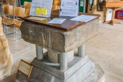 The 12th century Purbeck marble font