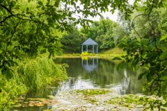 Bennetts Water Gardens, Roach Pond and gazebo