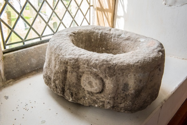 The medieval 'swine's trough' font bowl