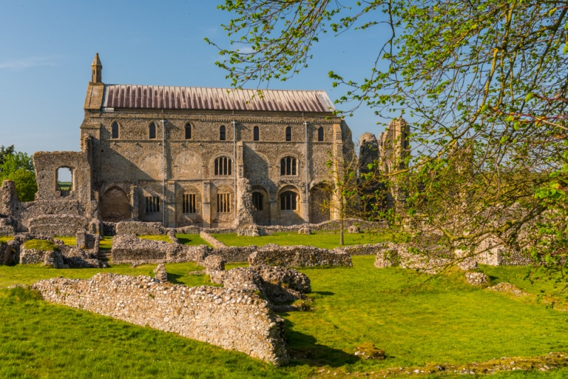 Binham Priory ruins and parish church