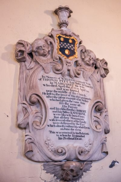 Blandford Forum, St Peter & St Paul Church photo, Memorial William Pitt, 1730