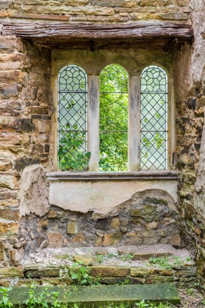 Blenkinsopp Castle photo, A 19th century window inserted in the castle wall