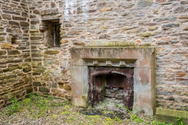 Blenkinsopp Castle photo, Remains of a later fireplace in the castle