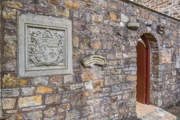 Blenkinsopp Castle photo, Re-used medieval and Roman stones and heraldic crest