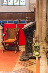The lectern, made from medieval misericords