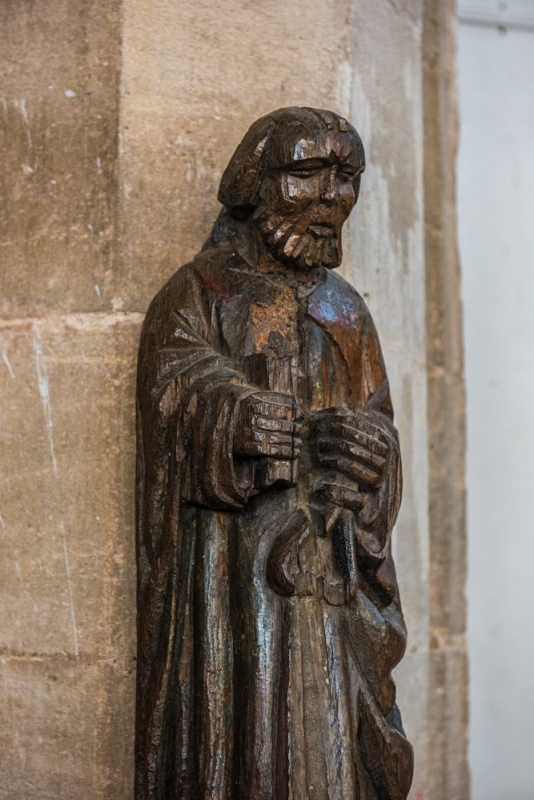 Medieval statue of St Matthew