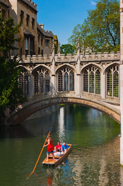 St Johns College photo, Punters by the Bridge of Sighs