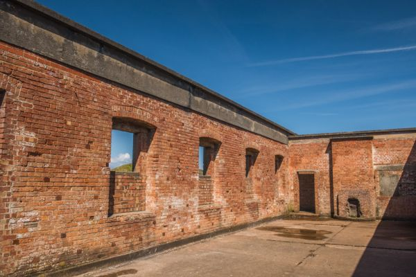 Brean Down Fort photo, The roofless barracks block