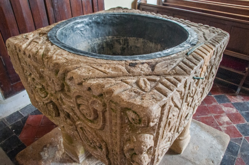 The late Saxon or early Norman font