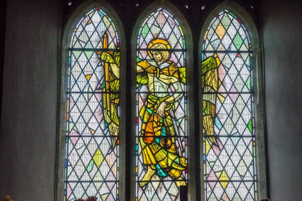 Brentor Church photo, Stained glass in the east window