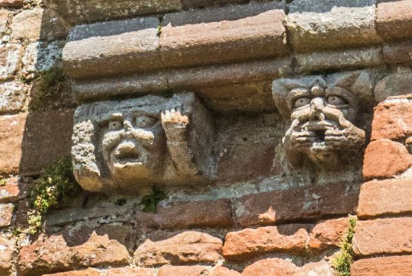 Brougham Castle photo, Grotesque carvings on the tower
