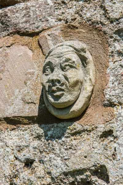 Brougham Hall photo, A medieval carved head set into the wall