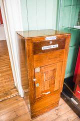 A wooden private post box for 'franked mail'