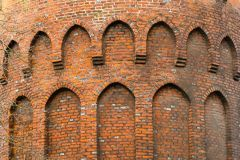 Brick detail on the circular 'hawk muse' tower