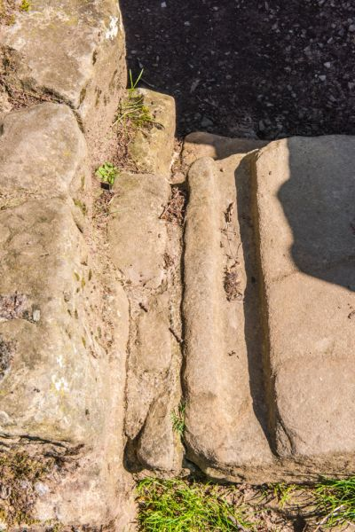 Brunton Turret (Hadrian's Wall) photo, Doorway grooves in the threshold stone