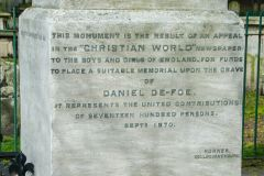 Daniel Defoe memorial inscription