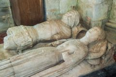 15th century alabaster effigies of a knight and lady