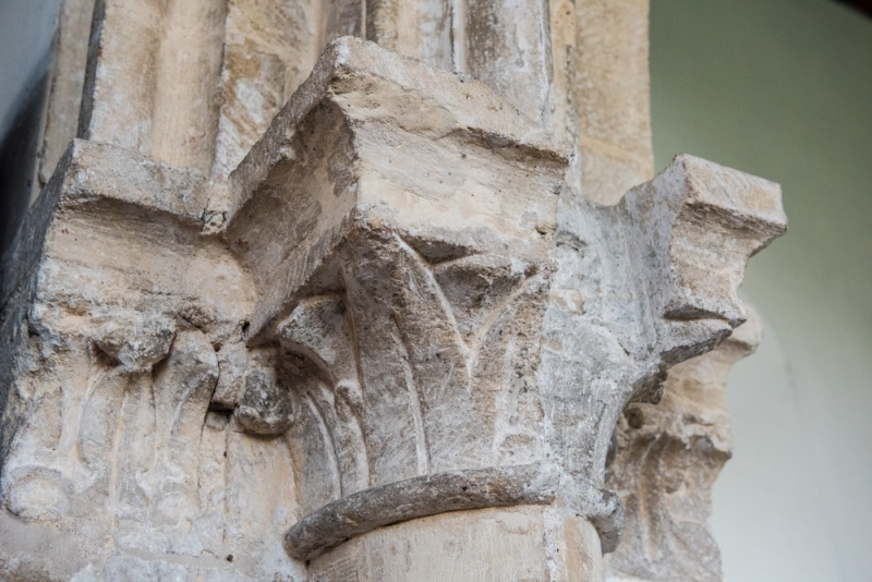 The Norman chancel arch capitals