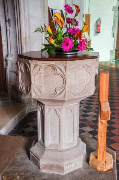 Burwell, St Mary's Church photo, The late medieval font