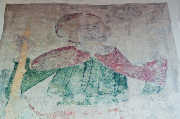 Burwell, St Mary's Church photo, Wall painting of St Christopher
