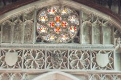 Burwell, St Mary's Church, The ornate rose window over the chancel arch