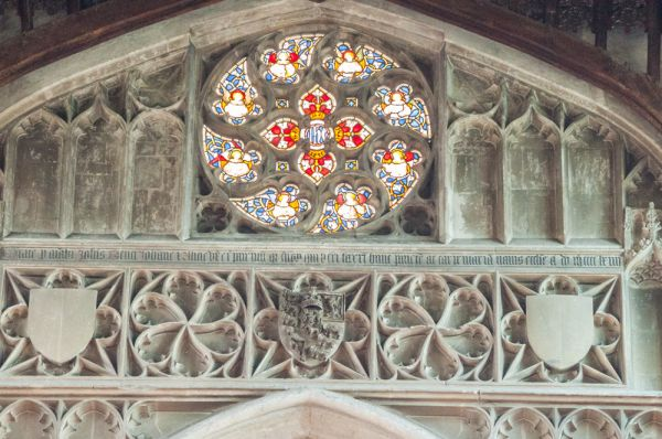 Burwell, St Mary's Church photo, The ornate rose window over the chancel arch