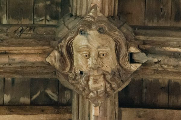 Burwell, St Mary's Church photo, Carved roof boss of a bearded man