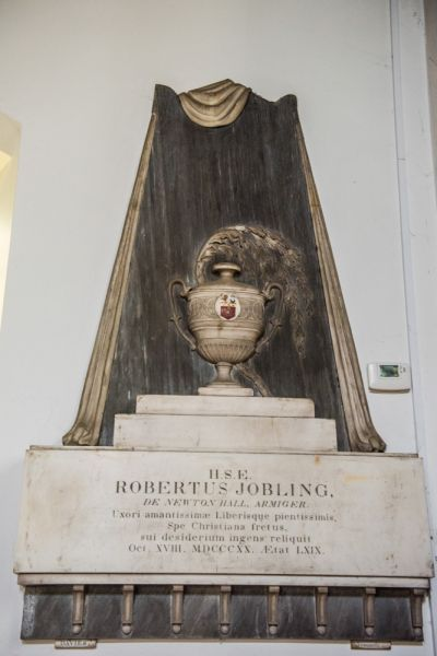 Bywell, St Peter's Church photo, Memorial to Robert Jobling, 1820