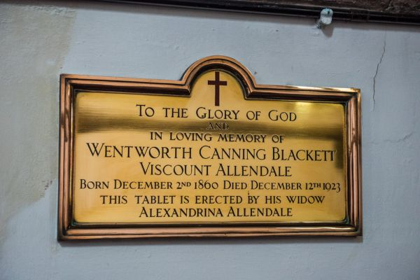 Bywell, St Peter's Church photo, Memorial brass to Viscount Allendale, d. 1923