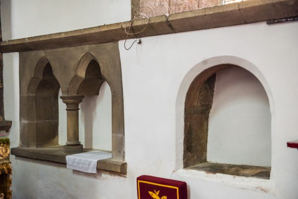 Bywell, St Peter's Church photo, 14th century piscina in the chancel