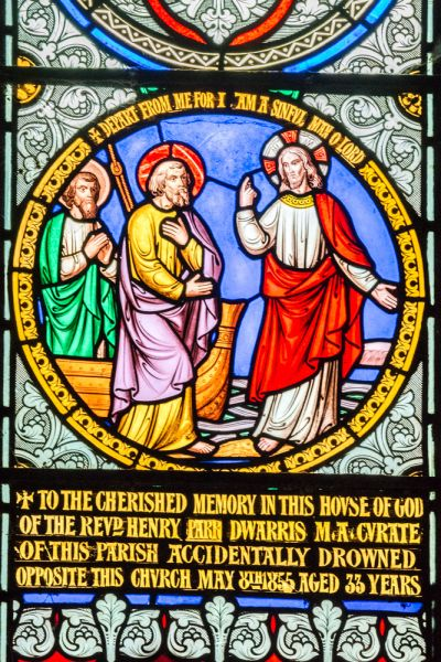 Bywell, St Peter's Church photo, Rev Dwarris memorial window, 1855
