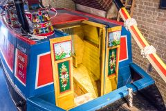 A restored narrowboat in the museum
