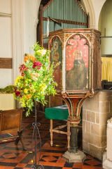 The medieval wineglass pulpit in St James Church