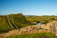 Hadrian's Wall with Cawfields Reservoir beyond