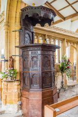 The beautifully carved 17th century pulpit
