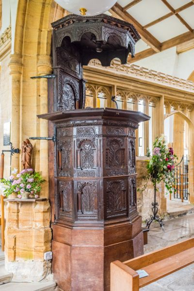 Cerne Abbas, St Mary's Church photo, The beautifully carved 17th century pulpit