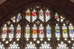 16th century heraldic stained glass panels in the east window
