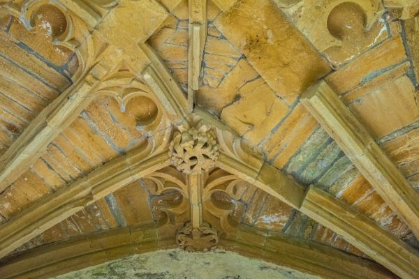Cerne Abbey photo, Ornate Perpendicular vaulting under the Abbot's Porch
