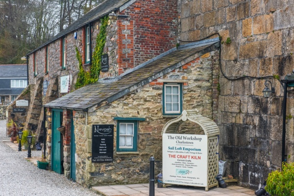 Historic harbourside buildings now used as shops
