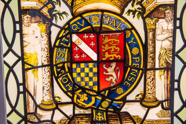 1569 stained glass with the Duke of Norfolk's coat of arms