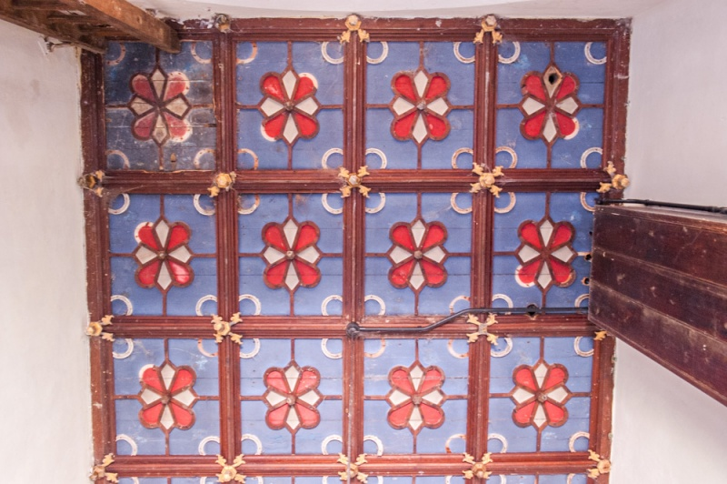The ornately decorated tower ceiling